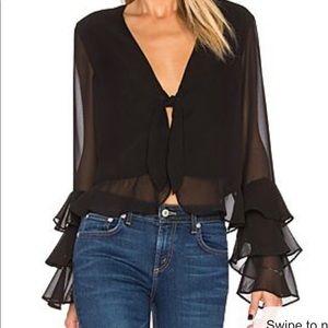 Tularosa long sleeve black blouse, size small